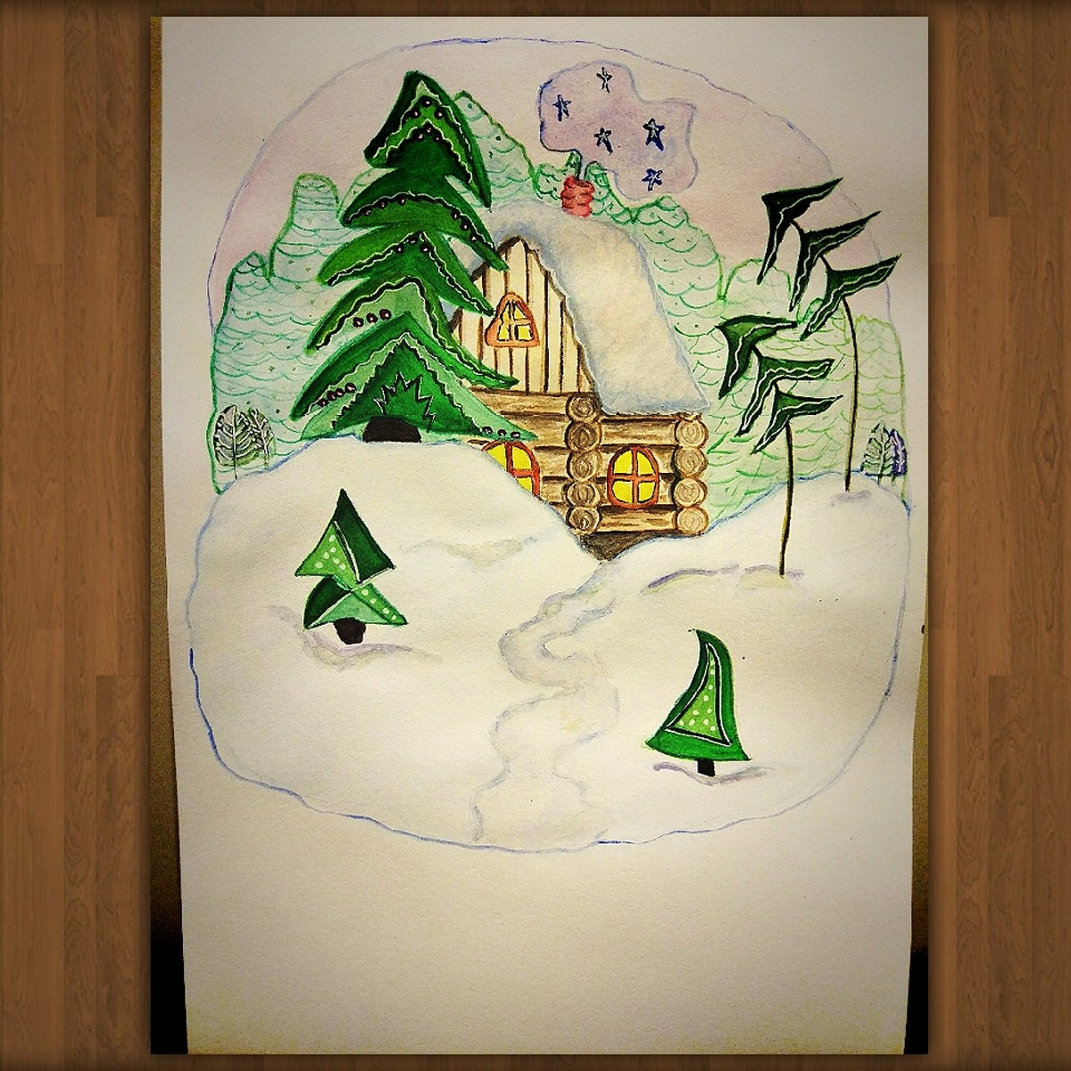 Новый год, новогодняя открытка в школу нарисовать